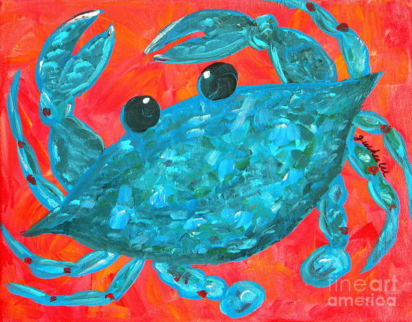 Crab Painting - Crazy Blue Crab by JoAnn Wheeler