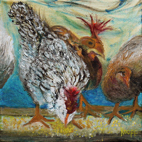 Painting - Crazy Chickens by Kathy Knopp