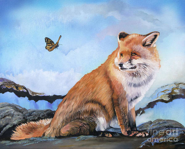 Painting - The Fox And The Butterfly by J W Baker