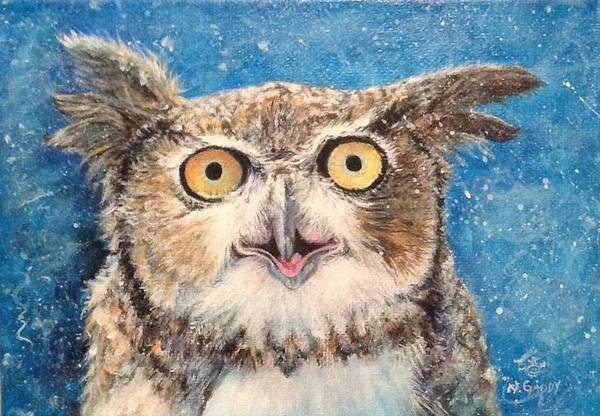 Wall Art - Painting - Crazy Jake Owl by Nancy Gaddy