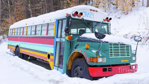 Hippy Wall Art - Photograph - Crazy Painted Old School Bus In The Snow by Edward Fielding