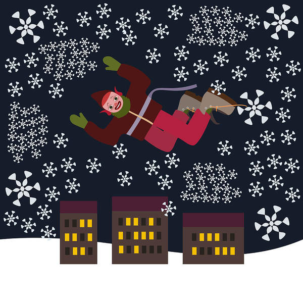 Hyperactive Digital Art - Crazy Punk Christmas Elf Flying Over The City In A Snow Blizzard by Lenka Rottova