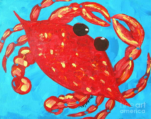 Wall Art - Painting - Crazy Red Crab by JoAnn Wheeler