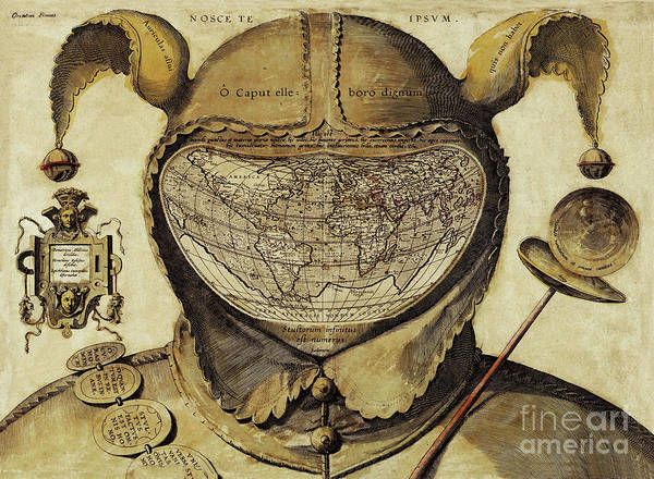 Wall Art - Painting - Crazy World Antique French Joker, Court Jester Map by Tina Lavoie