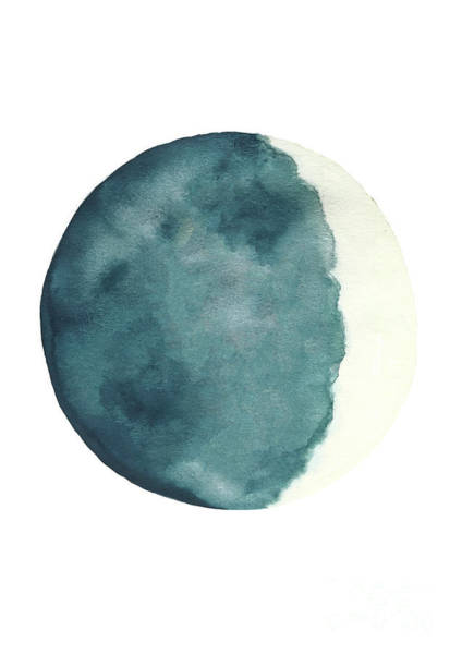 Wax Painting - Cream And Blue Waxing Crescent Moon Phase by Joanna Szmerdt
