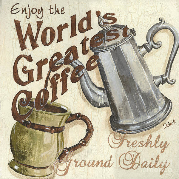 Cafes Wall Art - Painting - Cream Coffee 1 by Debbie DeWitt