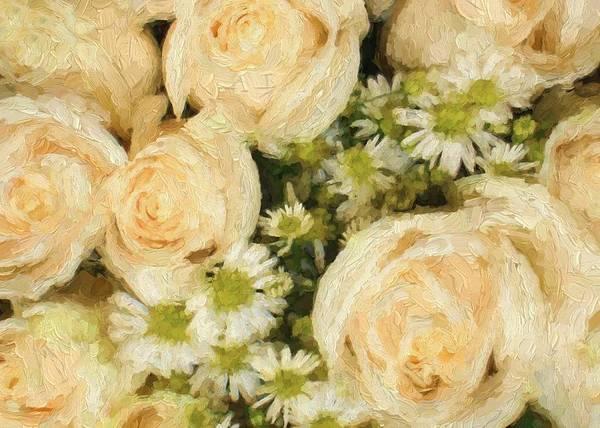 Digital Art - Cream Roses And Daisies by Charmaine Zoe