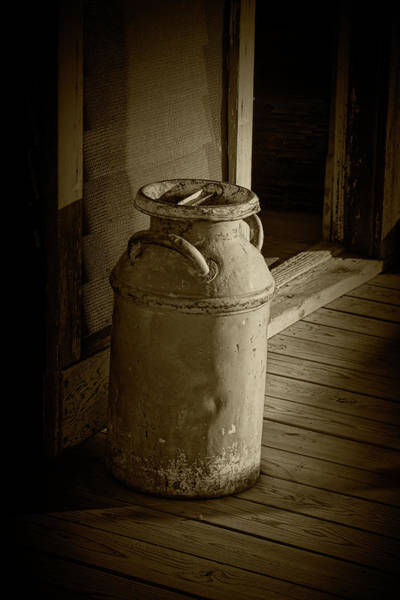 Photograph - Creamery Milk Can In Sepia Tone by Randall Nyhof