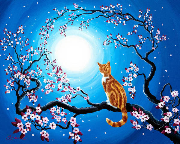 Burgundy Painting - Creamsicle Kitten In Blue Moonlight by Laura Iverson