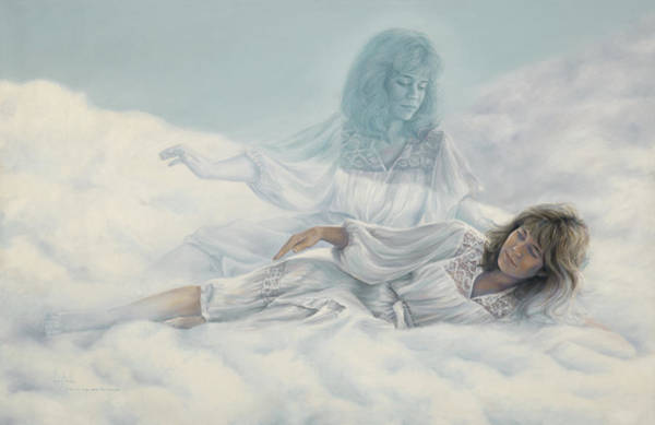 Angelic Beings Painting - Creating A Body With Clouds by Lucie Bilodeau