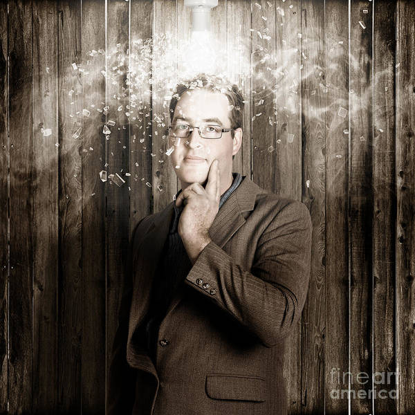 Smashed Photograph - Creative Business Man With Bright Light Bulb Idea by Jorgo Photography - Wall Art Gallery