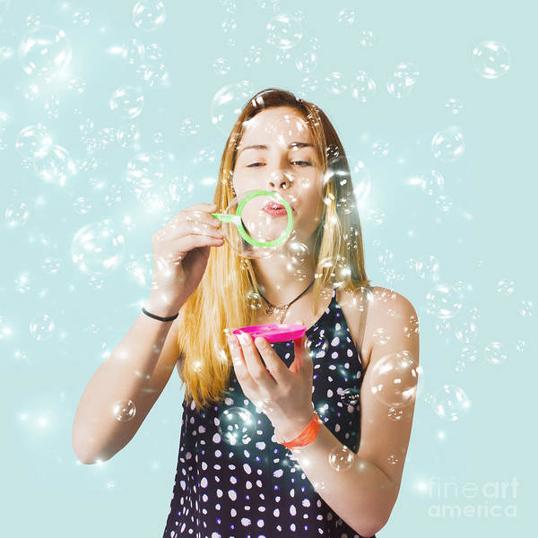 Photograph - Creative Woman Blowing Birthday Party Bubbles by Jorgo Photography - Wall Art Gallery