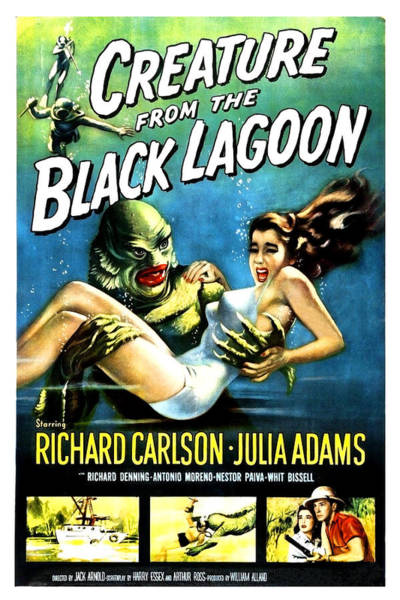 Horror Film Painting - Creature From The Black Lagoon by Long Shot