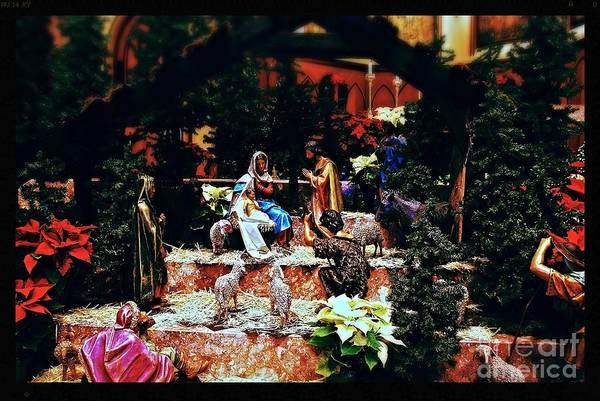 Photograph - Color Vibe Nativity - Natural Light With Black Border by Frank J Casella