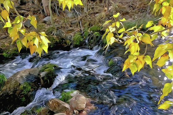 Mixed Media - Creek And Aspen Leaves By Frank Lee Hawkins by Frank Lee Hawkins Eastern Sierra Gallery