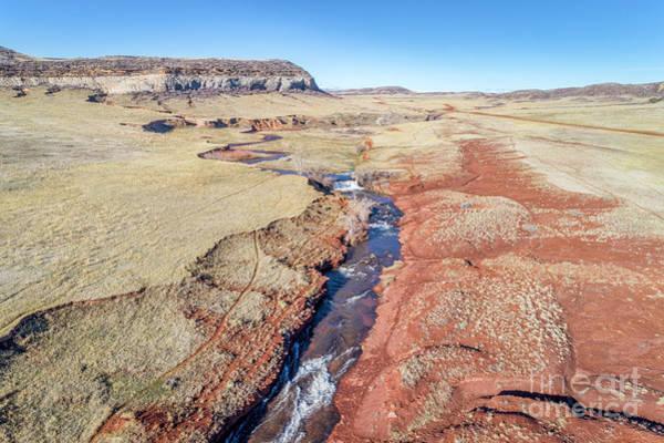 Photograph - creek at  Colorado foothills - aerial view by Marek Uliasz