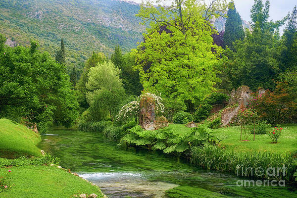 Wall Art - Photograph - Creek In Lush Garden With Ruins by George Oze