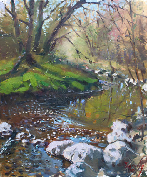 Wall Art - Painting - Creek In The Woods by Ylli Haruni