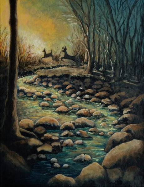 Black Buck Painting - Creek by Kimberly Benedict