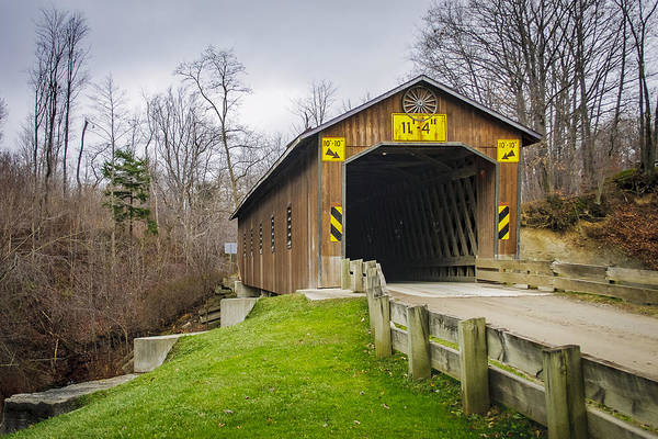 Photograph - Creek Rd Covered Bridge  by Jack R Perry