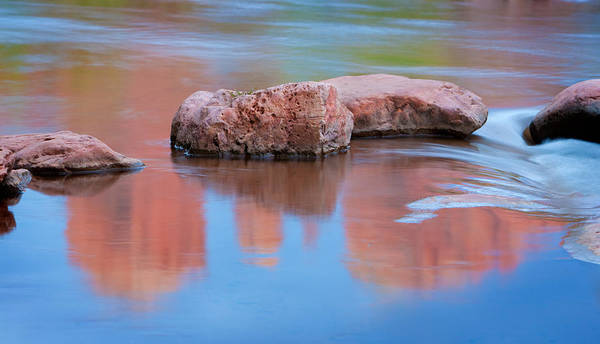 Creek Rocks With Cathedral Rock Reflection Art Print