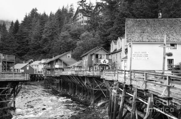Photograph - Creek Street In Ketchikan Bw by Mel Steinhauer
