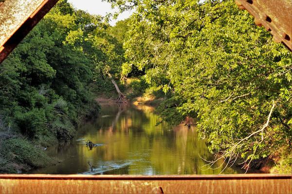 Photograph - Creek View Through Bridge Trusses by Sheila Brown