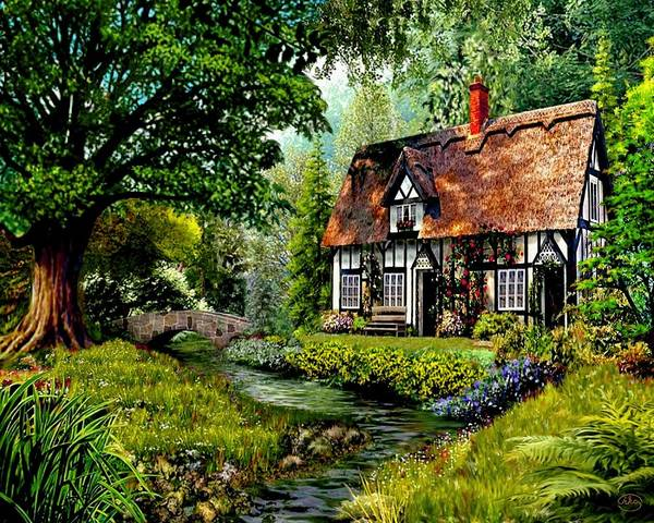 Wall Art - Painting - Creekside Cottage by Ron Chambers