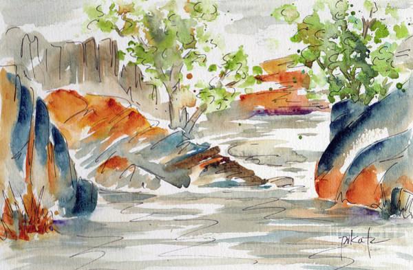 Painting - Creekside Sabino Canyon Tucson by Pat Katz