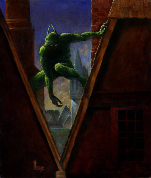 Mage Wall Art - Painting - Creeper On The Roof by Richard Hescox