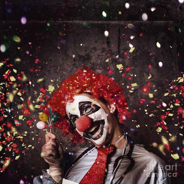 Wall Art - Photograph - Creepy Birthday Clown At Party Celebration by Jorgo Photography - Wall Art Gallery