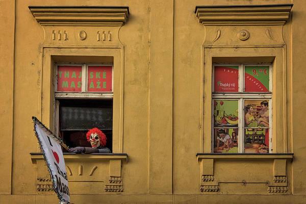 Photograph - Creepy Clown Loves Thai Massage - Prague by Stuart Litoff