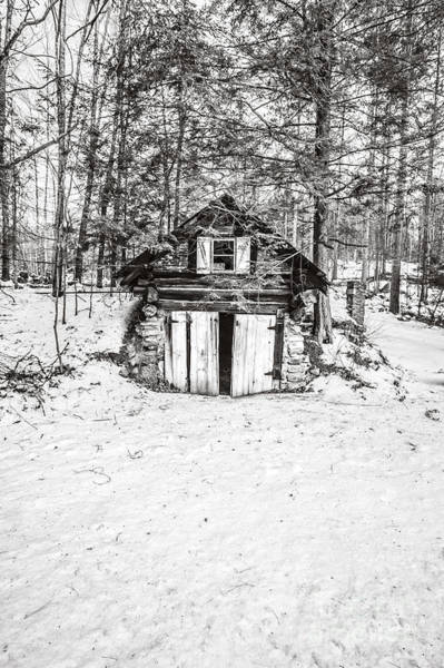 Photograph - Creepy Winter Cabin In The Woods by Edward Fielding