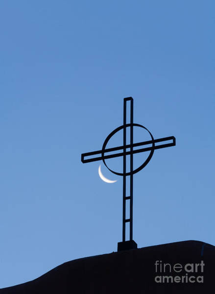Crescent Moon And Cross Art Print