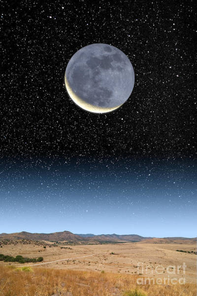 Photograph - Crescent Moon And Earthshine by Larry Landolfi