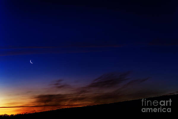 Sliver Photograph - Crescent Moon And First Light by Thomas R Fletcher