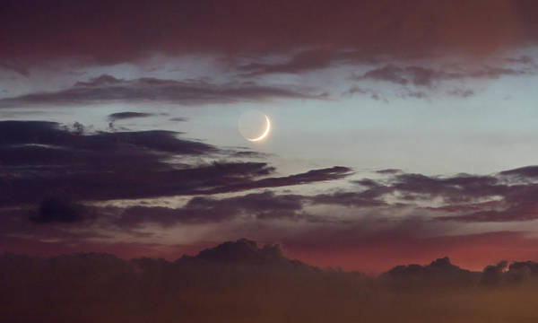 Photograph - Crescent Moon At Sunset by M C Hood