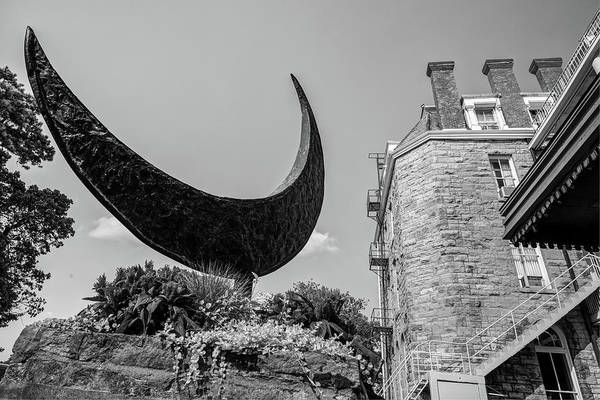 Eureka Springs Photograph - Crescent Moon Black And White - Eureka Springs Hotel by Gregory Ballos