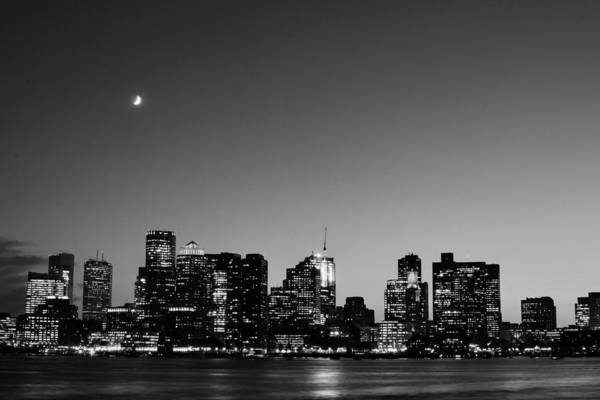 Photograph - Crescent Moon Over Boston At Dusk From East Boston Black And White by Toby McGuire