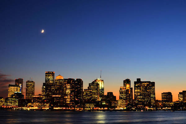 Photograph - Crescent Moon Over Boston At Dusk From East Boston by Toby McGuire