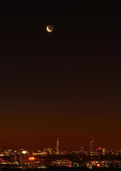 Photograph - Crescent Moon Over Boston by Ken Stampfer