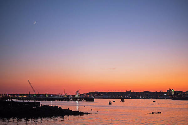 Photograph - Crescent Moon Over Portland Maine At Sunset by Toby McGuire