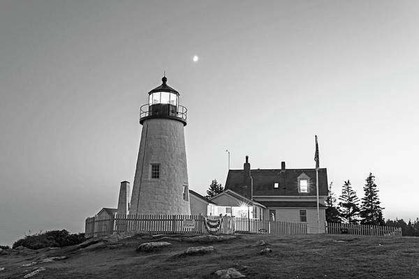Photograph - Crescent Moon Over The Pemaquid Point Lighthouse Pemaquid Me Black And White by Toby McGuire
