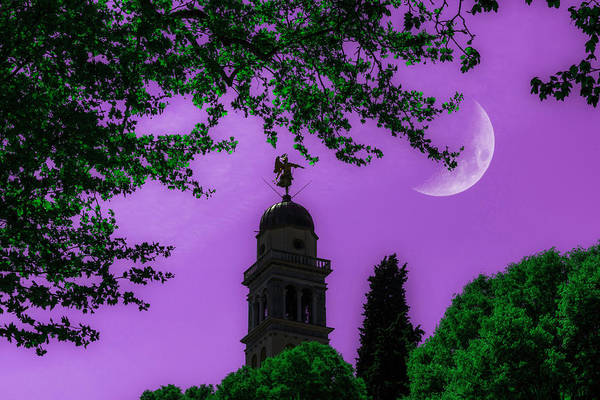 Photograph - Crescent Moon Over Udine In Lilac by Wolfgang Stocker