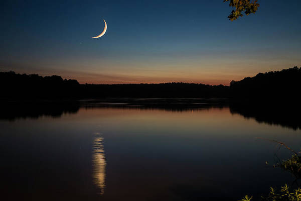 Art Print featuring the photograph Crescent Moon Set At Lake Chesdin by Jemmy Archer