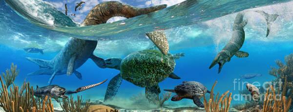Cretaceous Wall Art - Digital Art - Cretaceous Marine Scene by Julius Csotonyi
