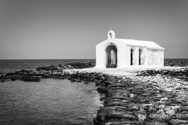 Wall Art - Photograph - Cretan Chapel - Black And White by Delphimages Photo Creations