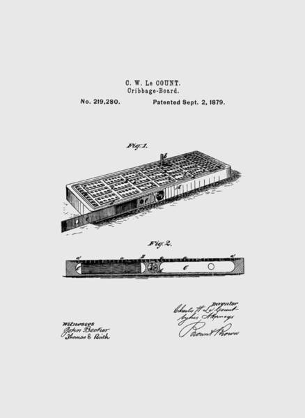 Drawing - Cribbage Board 1879 Patent Art Transparent by Prior Art Design