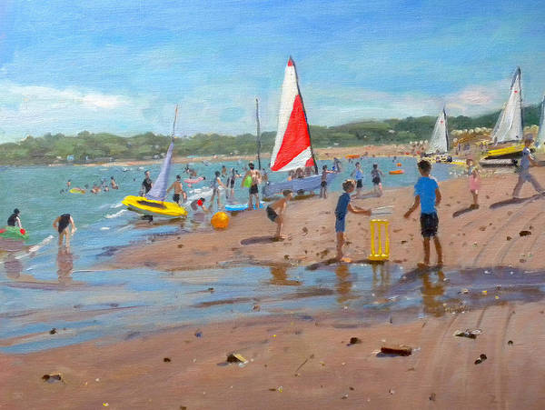 Summer Fun Painting - Cricket And Red And White Sail by Andrew Macara