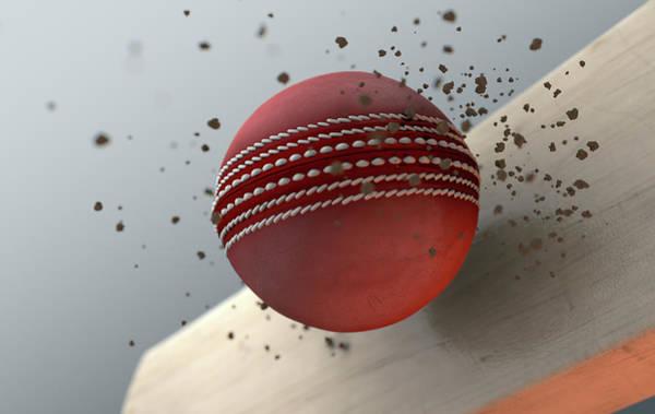 Fragment Digital Art - Cricket Ball Striking Bat In Slow Motion by Allan Swart